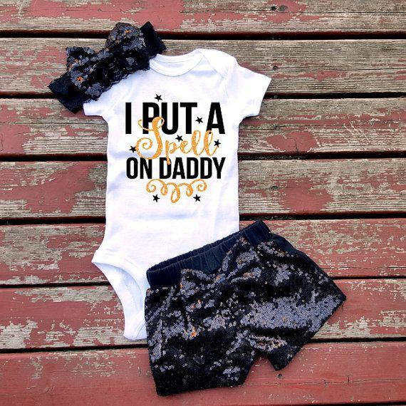 I Put A Spell On Daddy Baby Girl Bodysuit by GLITTERandGLAMshop