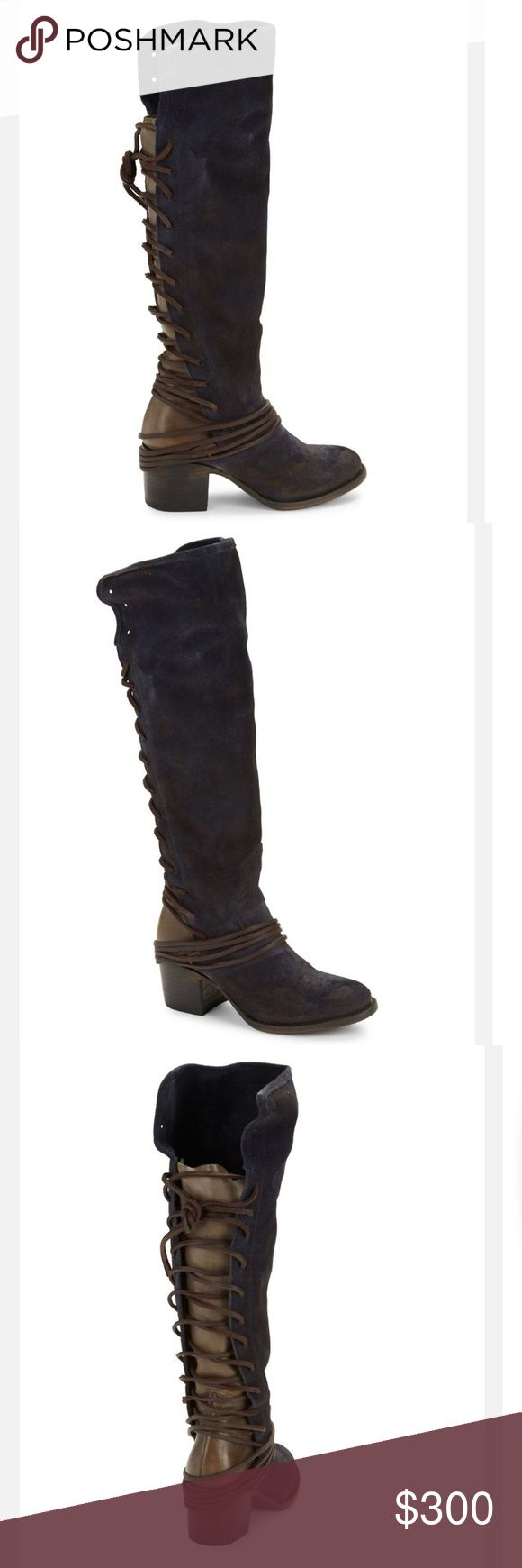 """Freebird by Steven Coal Navy Knee High Boots 8 Leather and suede meet in a dynamic lace-up knee-high style. Stacked block heel, 2.5"""". Shaft, 17.5"""". Leg circumference, 10"""". Leather and/or suede upper. Round toe. Concealed side zipper closure. Leather lining and sole. Lightly padded insole. Imported. Color: blue WORN ONCE with Original box Steven by Steve Madden Shoes Over the Knee Boots"""