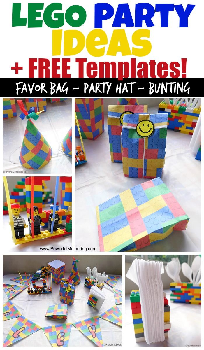 Complete your lego party theme with these lego ideas and free templates. Download a lego favor bag, lego party hat, a lego popcorn box and lego bunting! ENJOY!