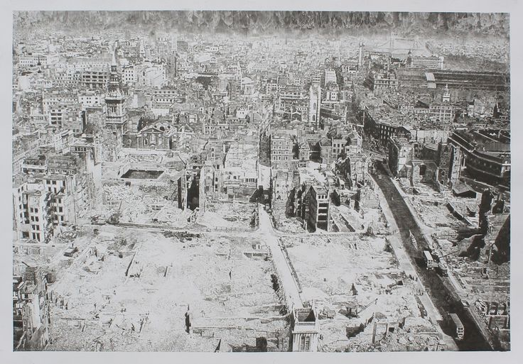Chris Shaw-Hughes (Living). View from St. Pauls (London, 1945). Carbon Drawing. 126 x 90 cm.