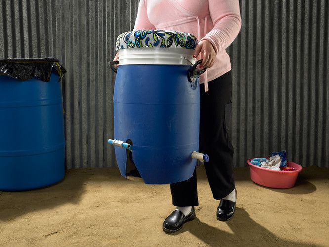 How A Foot-Powered Washing Machine Could Change Millions Of Lives by Alex Cabunoc and Ji A You, fastcodesign: GiroDora, designed by two students, is a bucket with a concealed spinning mechanism which washes and partially dries clothes with foot petal.