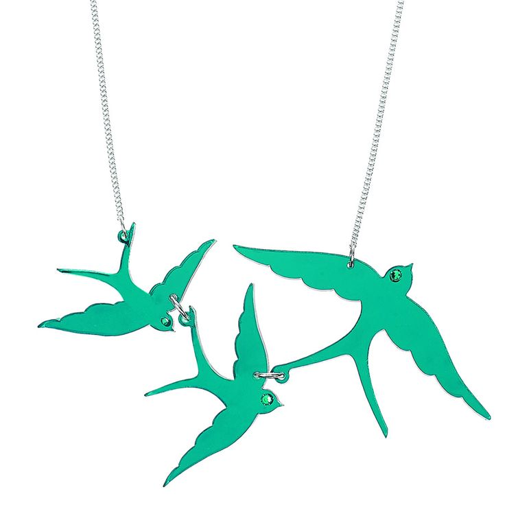 Turquoise Swallow Triple Necklace by Tatty Devine. Three elegant swallow silhouettes are linked together, captured as they swoop in flight. Look closer, each bird is embellished with a twinkling Swarovski crystal eye. Made in the UK by Tatty Devine and supplied with signature gift box.