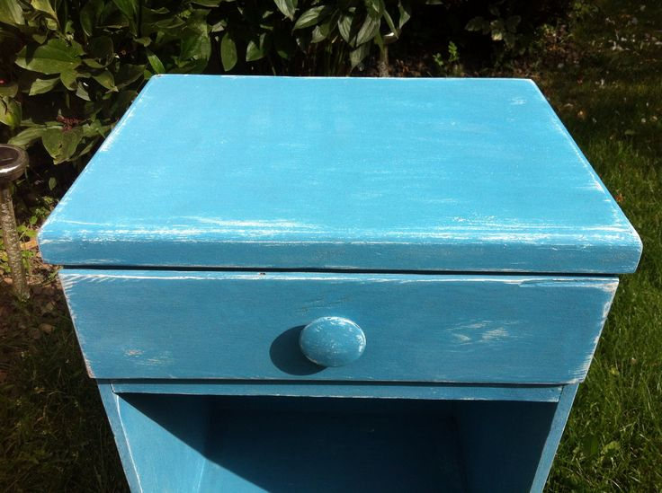 Beautiful blue chalk paint nightstand for my son!