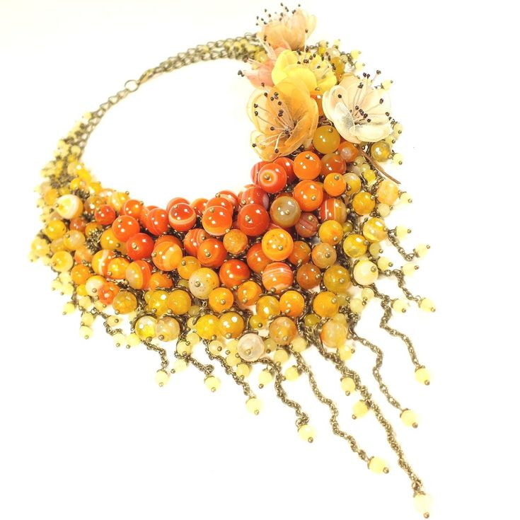 Купить Мандариновое Парфе. Колье из натуральных камней, цветы из ткани в интернет магазине на Ярмарке Мастеров
