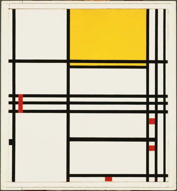 piet mondrian(1872-1944), painting No. 9, 1939-42. oil on canvas, 79.6925 x 74.295 cm. the phillips collection, washington, d.c., usa  http://www.phillipscollection.org/collection/browse-the-collection/index.aspx?id=1374