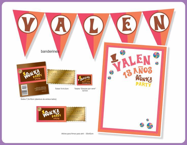 Mini Kit Willy Wonka by faire part invitaciones • encontranos en www.facebook.com/FairepartInvitaciones