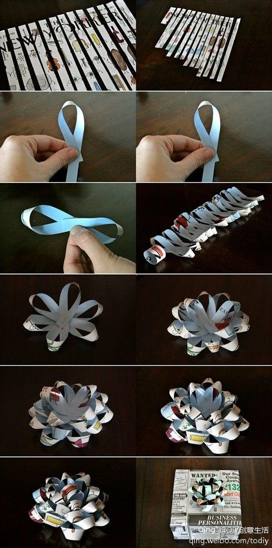 礼物礼盒包装花朵 the pictures show how to make a paper ribbon for gifts