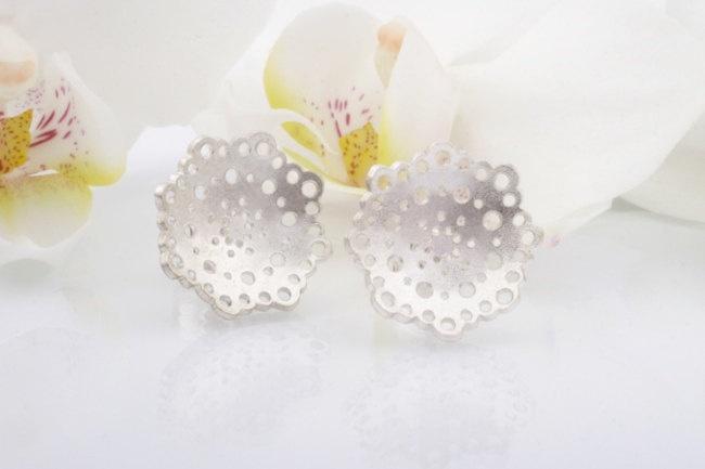 Doily Earrings. Silver Stud Earrings. €45,00, via Etsy.