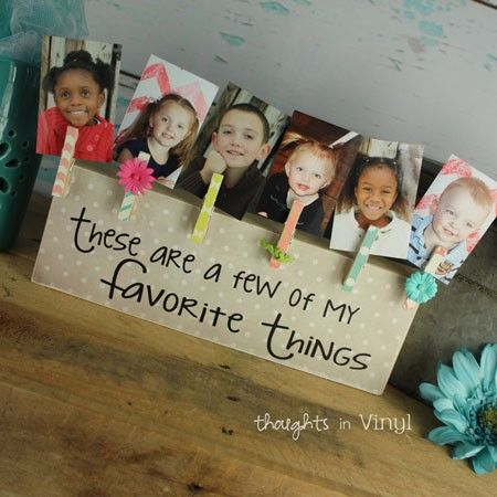 Easy to make!  Block painted, glue clothespin and include with a photo!  Nice idea for grandparents/greatgrands/etc