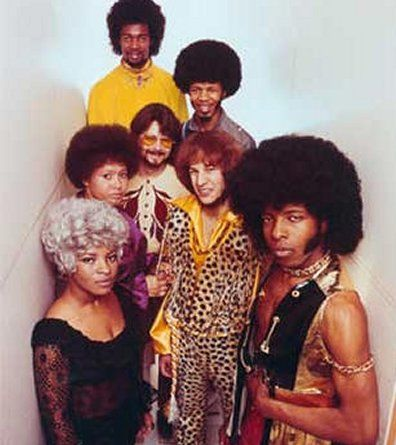 """Sly and the Family Stone, rock, funk, & soul band. Pivotal in the development of soul, funk, and psychedelic music, it was the 1st major American rock band to have an """"integrated, multi-gender"""" lineup. Their hits include Everyday People, Dance to the Music, Stand!, Hot Fun in the Summertime, Thank You (Falettinme Be Mice Elf Agin), & Family Affair. The group has been inducted into the Rock and Roll Hall of Fame & Vocal Group Hall of Fame. Rolling Stone ranked them #43 in its list of…"""