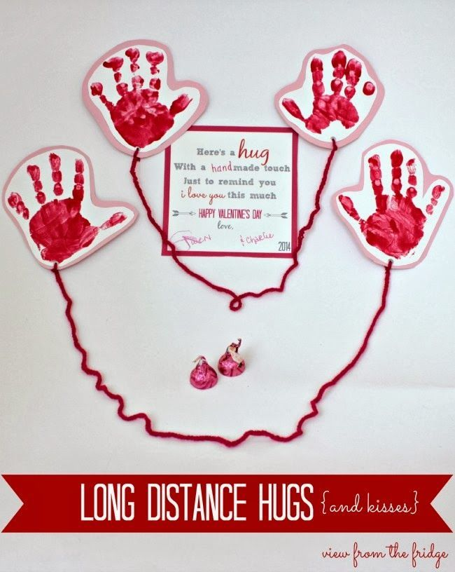 Great idea for kids to send a deployed parent a hug in a care packages! = Somerset Lane: Ideas for Kid's Valentine's Cards