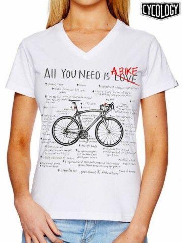 """Cycology dames t-shirt: All You Need Is A Bike. """"Liefde is geweldig, maar ik kan echt niet zonder mijn fiets"""". Dit t-shirt van Cycology heeft een print met een getekende racefiets en een opsomming van fietsdingen waar je echt niet zonder kunt. Een betere manier om je liefde voor de fiets te tonen is er niet! Dames t-shirt met V-hals. Kleur: wit."""
