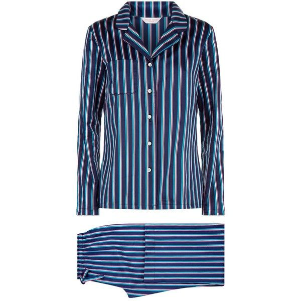 Derek Rose Wellington Striped Pyjama Set (2.888.790 IDR) ❤ liked on Polyvore featuring intimates, sleepwear, pajamas, striped pjs, cotton pyjamas, derek rose pyjamas, cotton sleepwear and striped pajamas