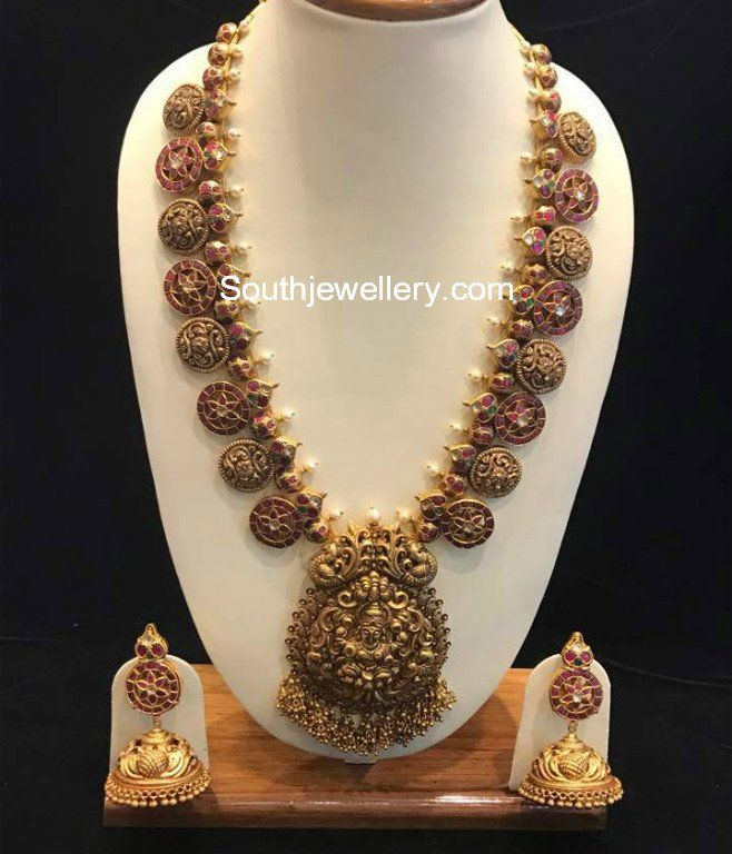 Antique Kundan Long Haram with Lakshmi Pendant