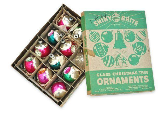 Midcentury Christmas Ornaments, S/12 ($195)