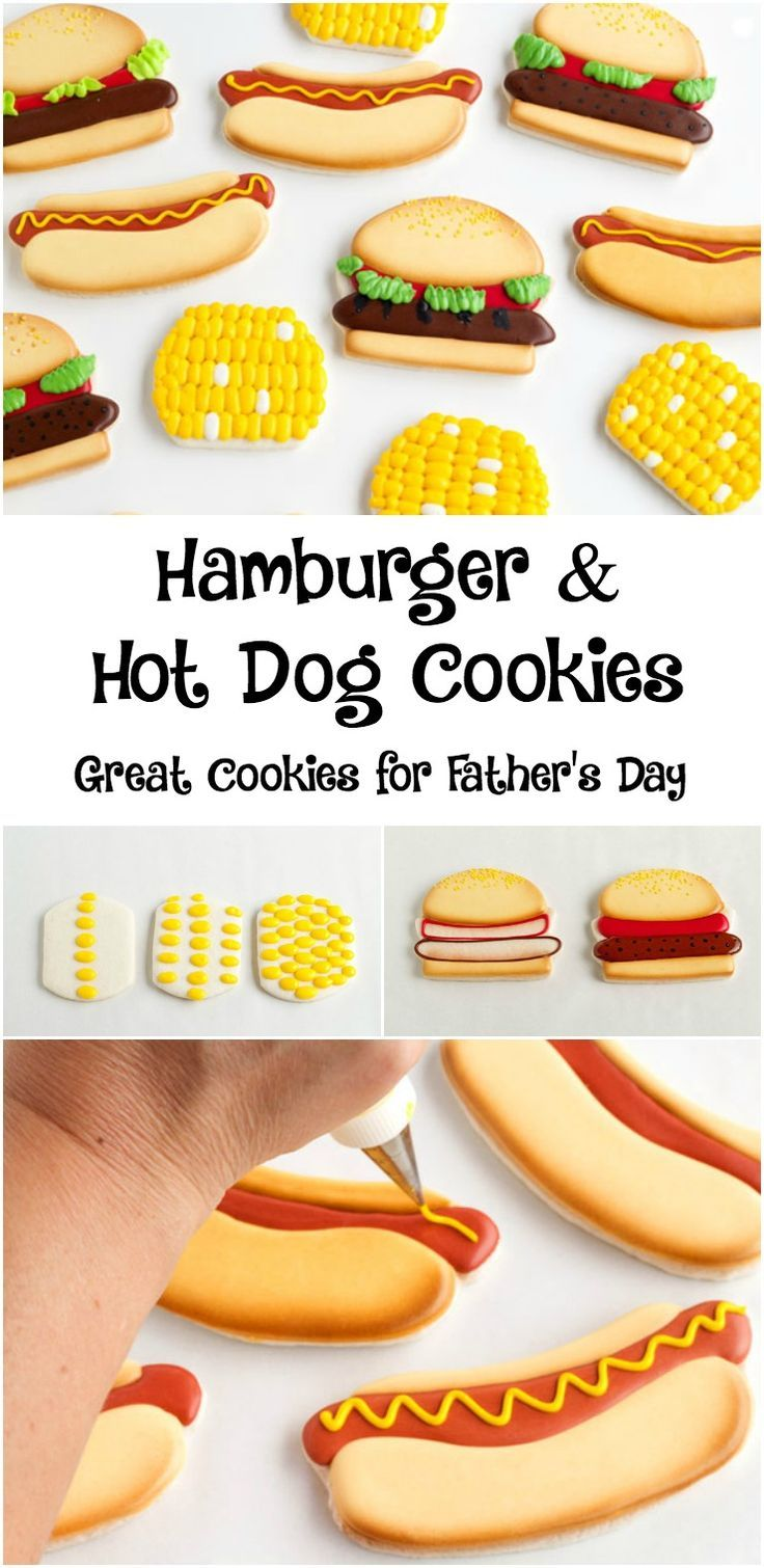 Add some fun to your 4th of July BBQ Cookies- Hot Dogs and Hamburger Cookies www.thebearfootbaker.com