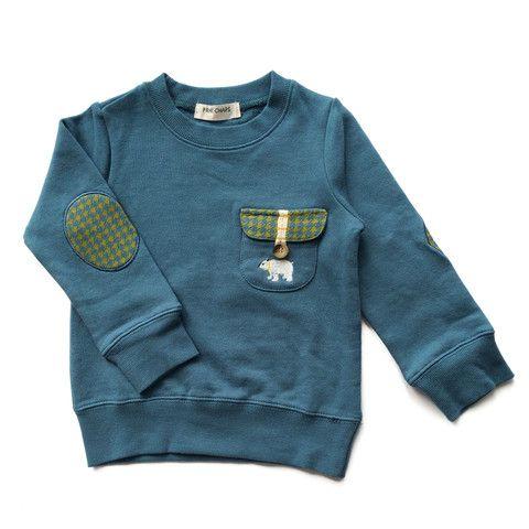 Sweatshirt w/elbow patches - Blue – Kotachi Kids