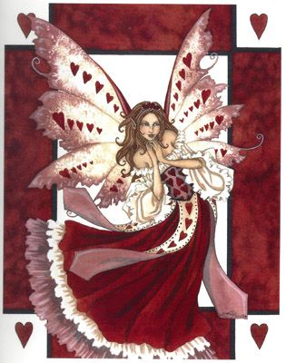 """Hearts, artwork by Amy Brown, an open edition print full of love and joy. Features a beautiful fairy surrounded with hearts, looking to spread her happiness with any one she comes across.  Dimensions: 8 1/2"""" W x 11"""" H  Materials: 80 lb cover stock Price: $12.95"""
