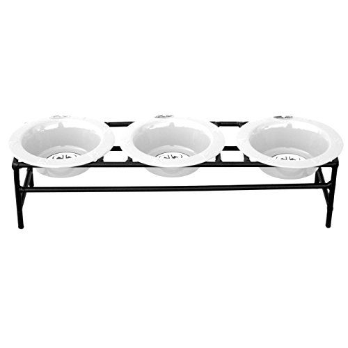 The Platinum Pets Modern Triple Feeder makes every meal memorable. The pet feeder includes three stainless steel wide rimmed bowls designed with your canine or feline in mind. Durable hand-forged wrou...