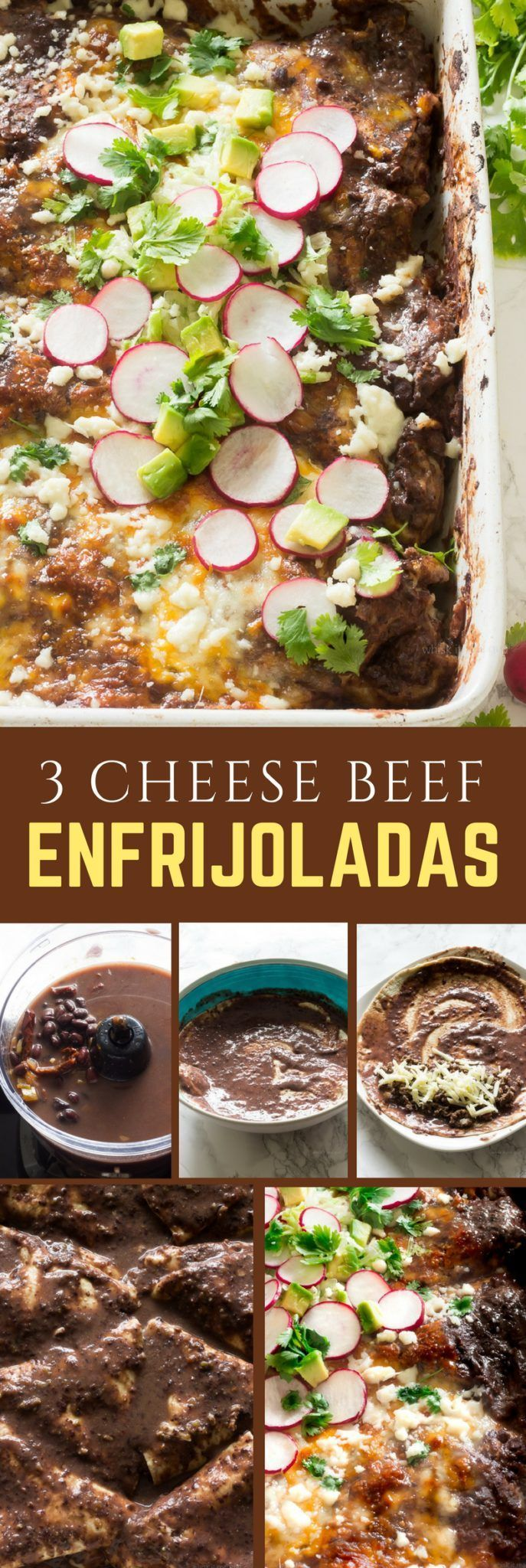 If you love Mexican food then you will love this enfrijolada recipe. Enfrijoladas are similar to enchiladas. Instead of using enchilada sauce, black bean sauce is used. They are traditionally made using corn tortillas, with chorizo, chicken or cheese slathered in a black bean or pinto bean sauce, topped with crumbled queso fresco. You can serve enfrijoladas with salsa, shredded lettuce, avocado, cilantro, radishes, sour cream. Whatever you like. #mexicanrecipes #enfrijoladas #beefrecipes…
