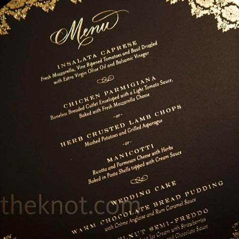 Black and Gold Menus. A Castle Wedding in Tarrytown, NY. The Knot
