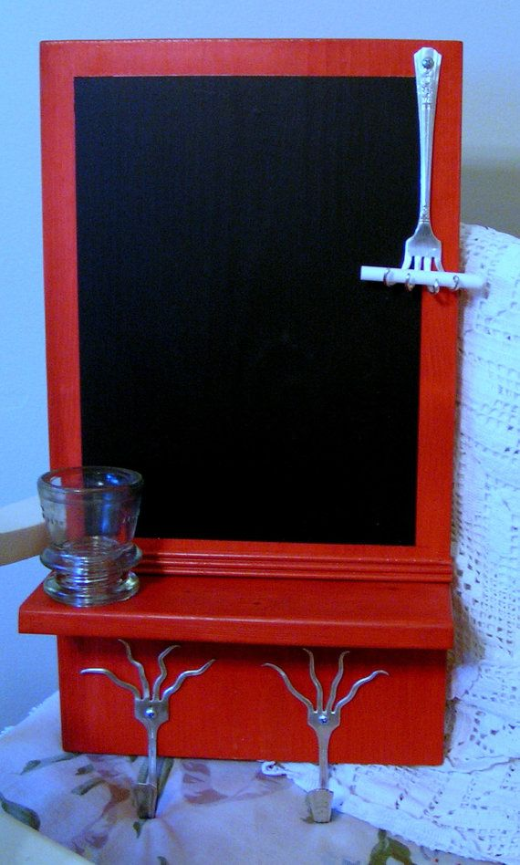 "Chalkboard for Kitchen in Red with Wood Wall Shelf and Upcycled Twisted Fork Handles.  (A question for you in the know - What does ""Upcycled"" mean?)"