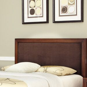 Home Styles Duet Queen Panel Headboard with Brown Microfiber Inset, Rustic Cherry