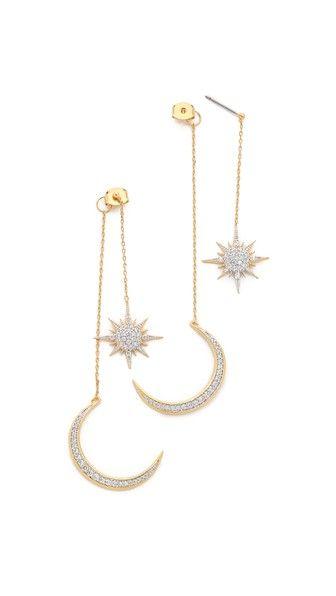 Noir Jewelry Серьги в форме звезды и месяца