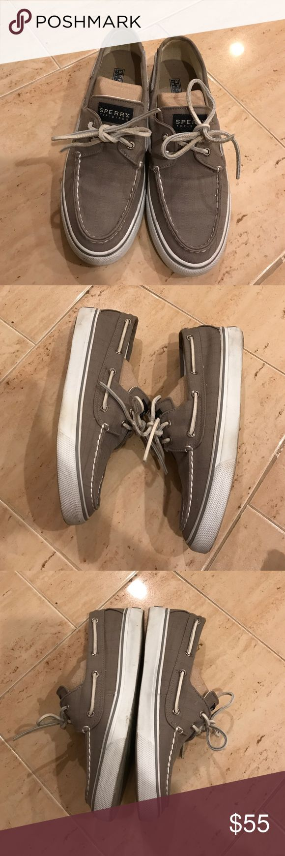 Gray Sperrys Sperry boat shoes in grey! Size 7.5 White rubber soles can be cleaned 😁 in good condition! Sperry Top-Sider Shoes Flats & Loafers