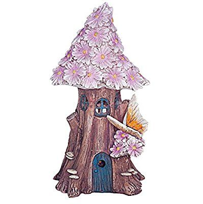 Solar Powered Illuminated Fairy House / Dwelling Garden Ornament in a Tree Trunk with Pink Flowers and Butterfly