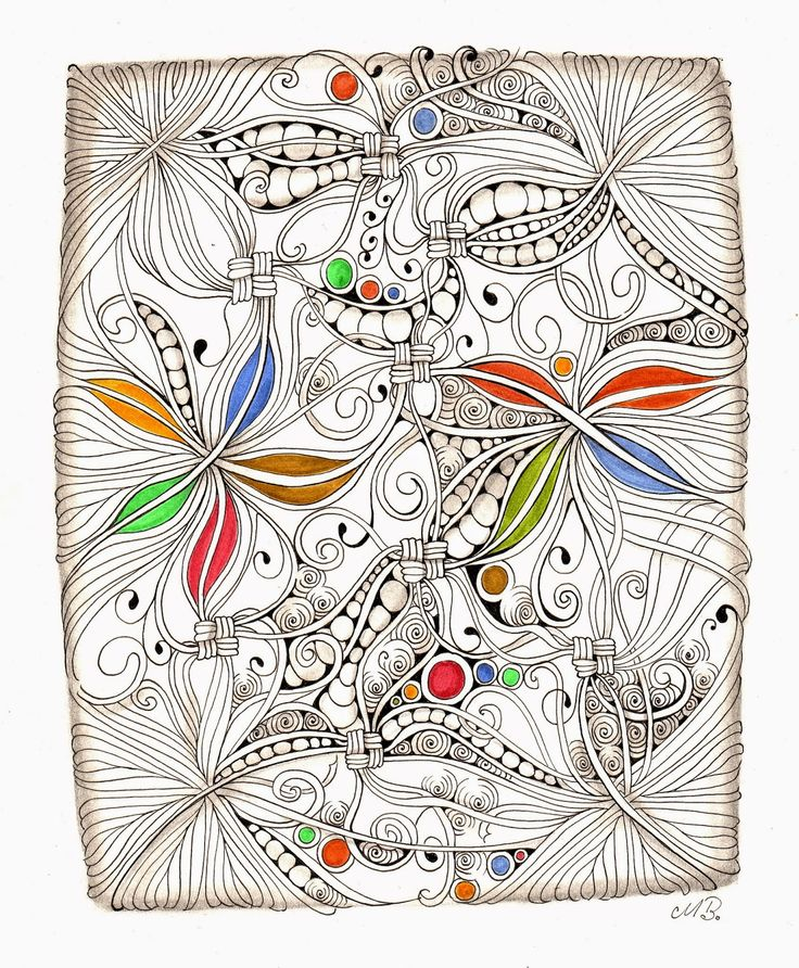 Shelly Beauch: Hurry in the corners. I like the use of limited color in this zentangle