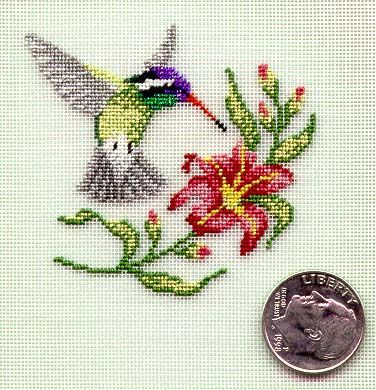 .tiny hummingbird from board small stitches Kate Miles