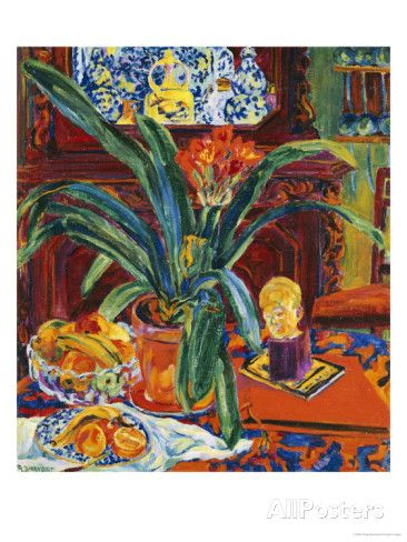 Still Life with a Pot Plant, Fruit and a Small Sculpture, circa 1920 Posters by Philipp Bauknecht at AllPosters.com