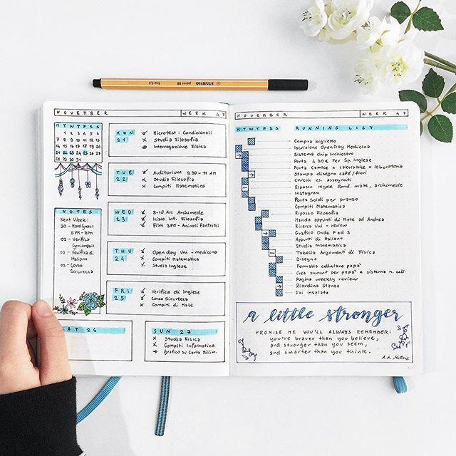 Weekly Planner: Neat running list on the right side of the page.