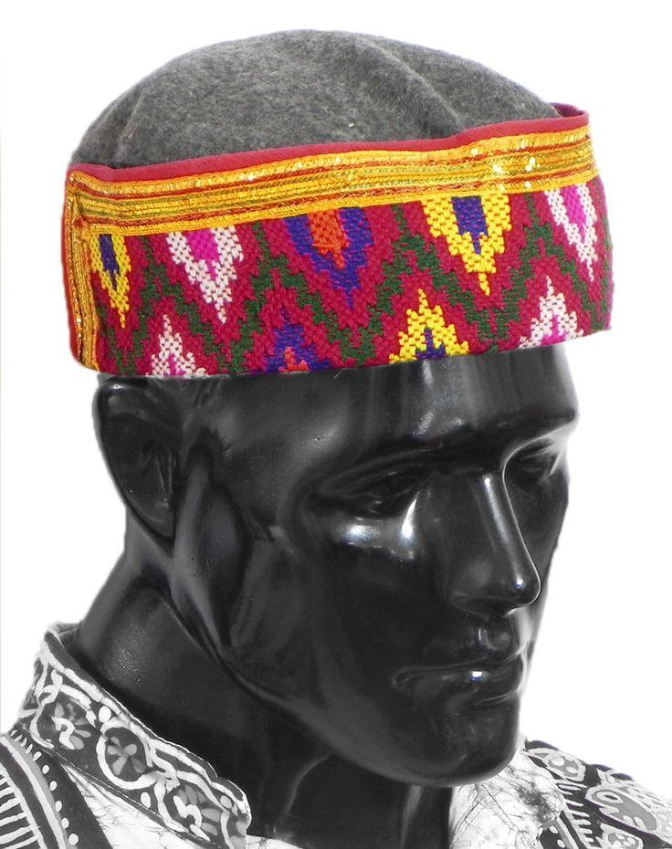 Gents Himachali Dark Grey Woolen Cap with Colorful Kullu Weaved Design in Front (Woolen)