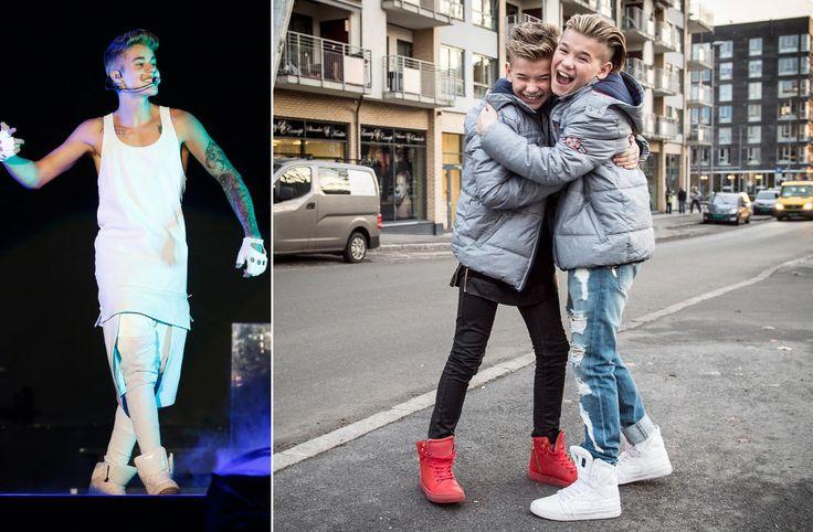 STILFORBILDE: Marcus og Martinus Gunnarsen lar seg inspirere av Justin Bieber (til venstre) i klesveien. Den kanadiske artistkollegaen har i likhet med brødrene en forkjærlighet for store sneakers og løstsittende overdeler. Foto: NTB Scanpix / Lars Eivind Bones / Dagbladet