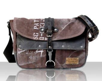 Canvas Messenger Bag, Crossbody Bag, Painted Bag, Distressed Bag, Recycled Varnish Coated Canvas, Leather Jacket / Upcycled in GERMANY -2181