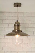 "12"" Retro Metal Fishermans Lamp Electric Pendant Ceiling Light Glass Globe Shade"