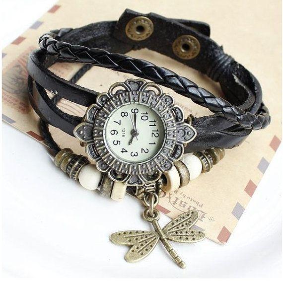Quartz Weave WRAP Around Dragonfly leather Bracelet Woman lady Wrist Watch black