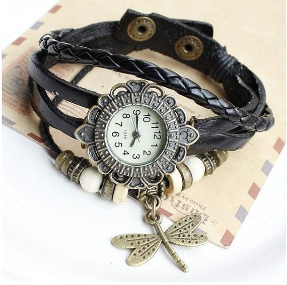 Quartz Weave WRAP Around Dragonfly leather Bracelet Woman lady Wrist Watch black