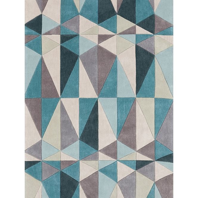 estampa geométrica em tapete turquesa - Arkpad