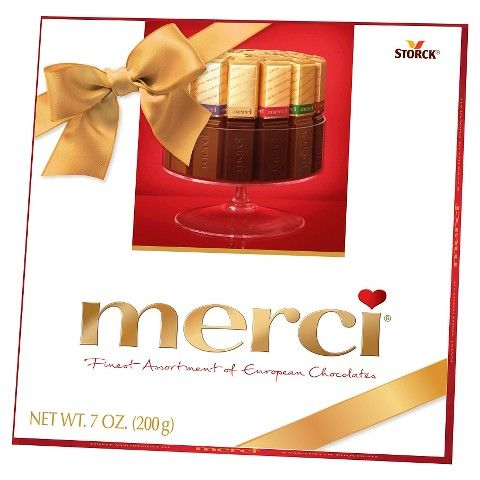 7 oz Merci Chocolates I liked them all except for the milk Creme and ones with nuts