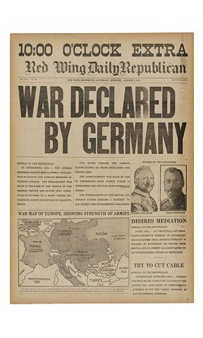 "Historic Newspapers~  Red Wing Daily Republican dated 08/01/1914 -- ""Extra"" edition announcing the beginning of World War I. On exhibit in the News Corporation News History Gallery at the Newseum.  Newseum collection  Photo credit: Newseum collection"