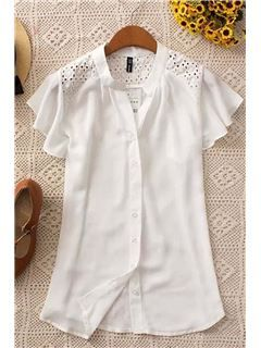 Polished Single Breasted Cut-outs Sleeve Chiffon Blouse