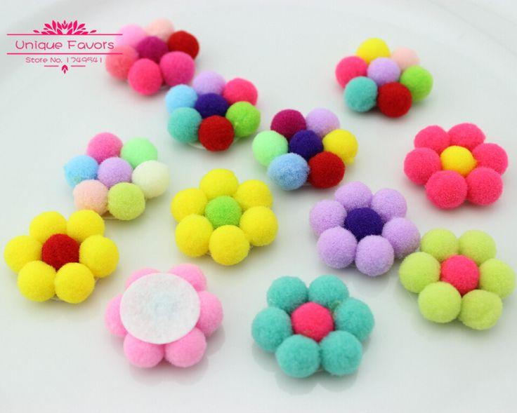 30pcs Kawaii Sweet Candy Colors Felt Fabric Flowers Pom Pom Balls Brooch Flowers…