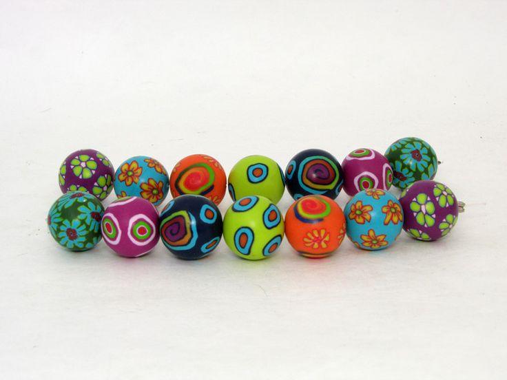 Polymer Clay Perlen - Fimo Perlen aus Polymer clay 17mm Millefiori - ein Designerstück von filigran-Design bei DaWanda