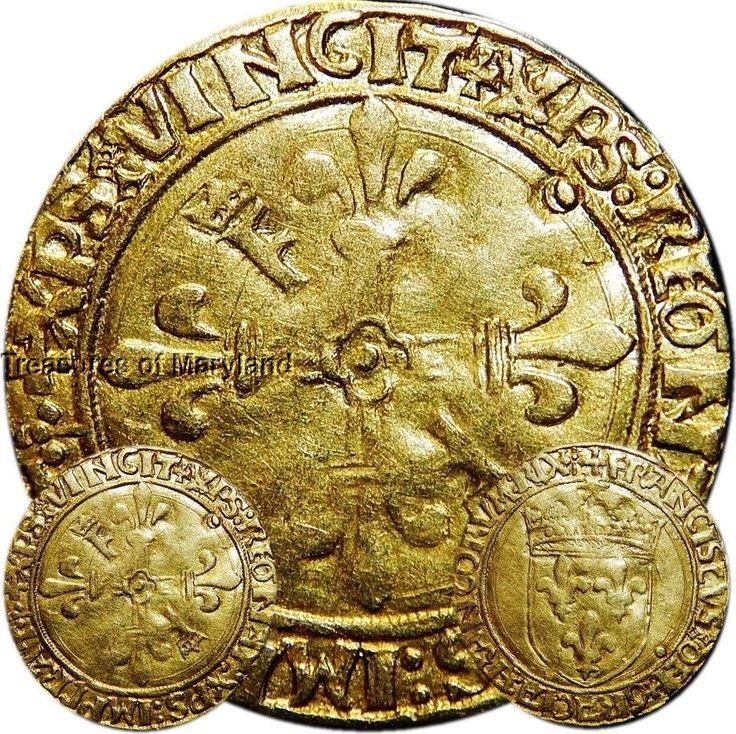 """Francis I 1515-1547 Father/Restorer of Letters France """"GOLD ECU D'OR"""" Lyon #FG2"""