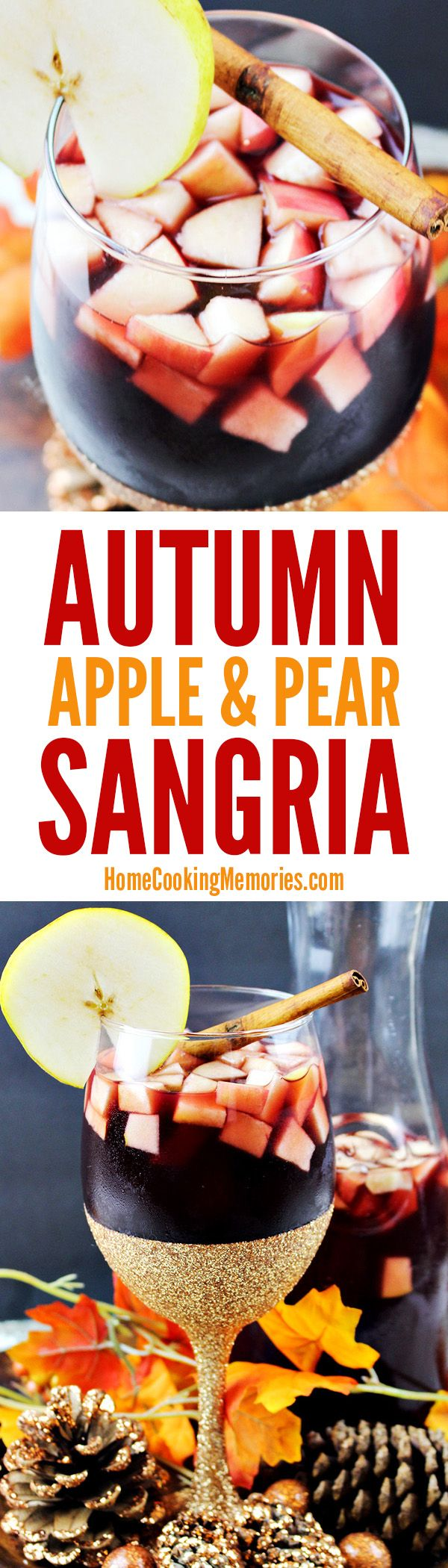 Delicious fall cocktail recipe: Autumn Apple & Pear Sangria! Made with a blend of red wine, apple cider, brandy - it's perfect for Thanskgiving dinner or fall parties.