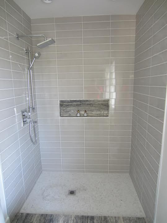 dual shower head bar. walk in tile shower with slide bar hand held \u0026 rain head dual