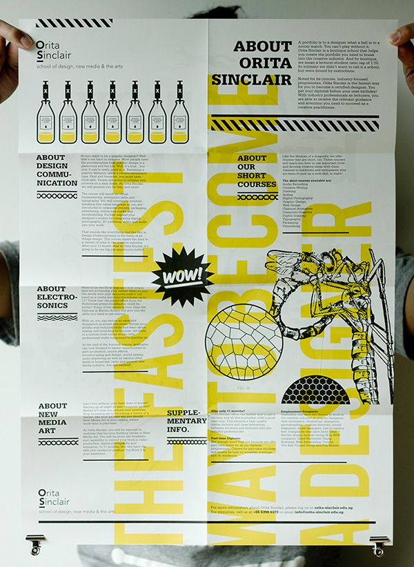 Budget version for the Orita Sinclair design school prospectus, printed on newsprint with black and